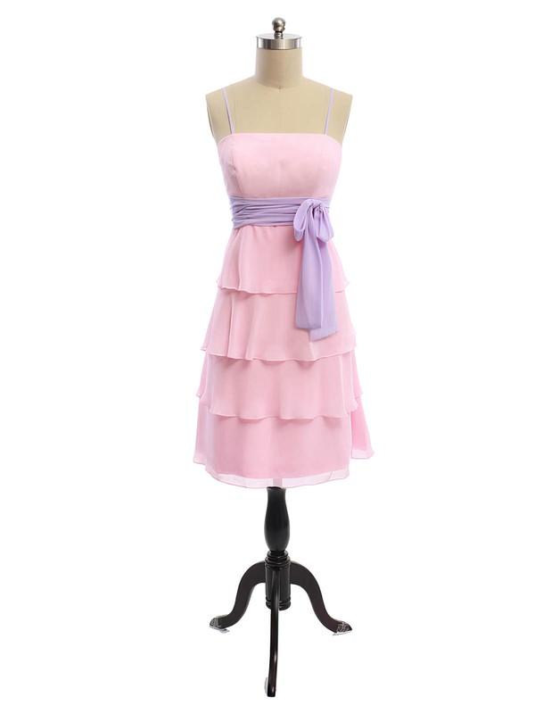 Chiffon A-line Square Neckline Tea-length Appliques Lace  Bridesmaid Dresses #JCD01012613