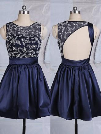 Scoop Neck Dark Navy Tulle Elastic Woven Satin Beading Short/Mini Cocktail Dresses #JCD02051747