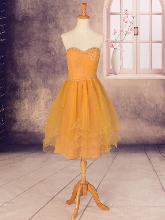 Sweetheart Casual Orange Chiffon Cascading Ruffles Knee-length Cocktail Dress #JCD02051759