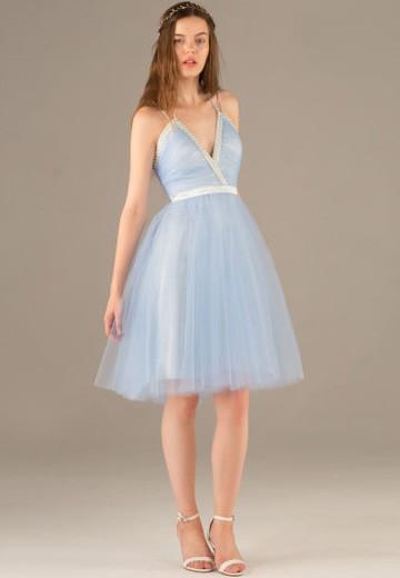 Cheap Light Sky Blue V-neck Straps Tulle with Beading Knee-length Cocktail Dress #JCD02051780