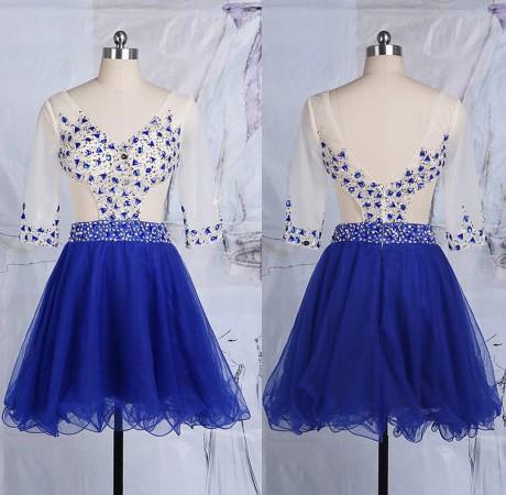 Interesting Backless Short/Mini Tulle Beading 1/2 Sleeve Royal Blue Cocktail Dress #JCD02051788