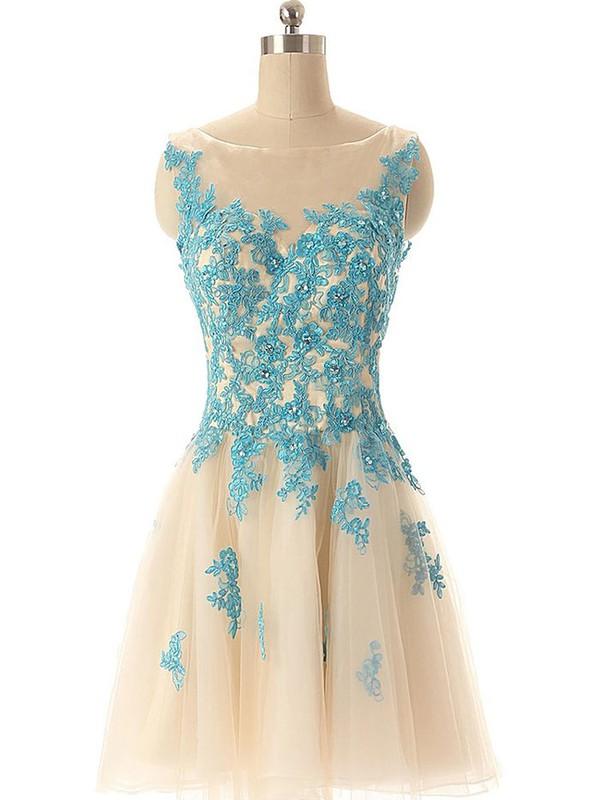 Multi Colours Tulle Appliques Lace Scoop Neck Modern Short/Mini Prom Dresses #JCD02019690