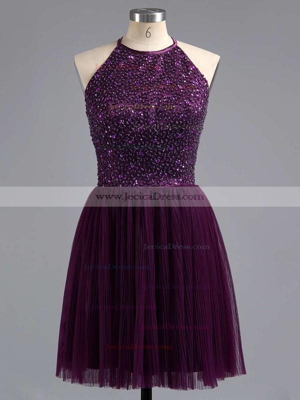 Designer Spaghetti Straps Scoop Neck Purple Tulle Beading Short Prom Dress #JCD02019702