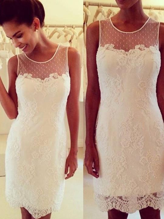Satin Tulle Sheath/Column Scoop Neck Short/Mini Lace Prom Dresses #JCD02019708