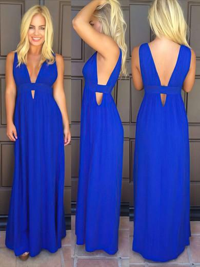 Interesting Royal Blue Ruffles Chiffon V-neck Ankle-length Prom Dress #JCD02019820