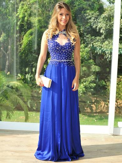 Scoop Neck Appliques Lace Floor-length Open Back Royal Blue Silk-like Satin Prom Dress #JCD02019879