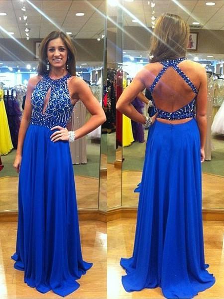 Exclusive Sweep Train Chiffon Beading Backless Royal Blue Prom Dress #JCD02019904