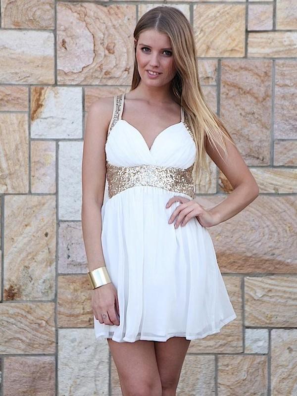 Chiffon Sequined A-line Sweetheart Short/Mini Ruffles Prom Dresses#JCD02019927