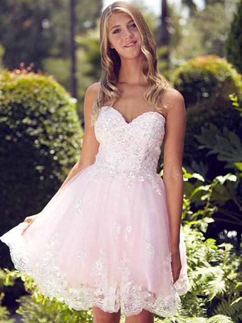 Tulle A-line Sweetheart Short/Mini Beading Prom Dresses #JCD02019966