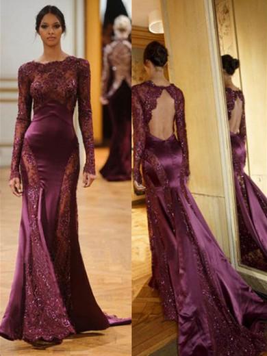 Burgundy Long Sleeves Scalloped Neck Interesting Court Train Prom Dresses #JCD020100004