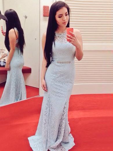 Scoop Neck Elegant Trumpet/Mermaid Lace Light Sky Blue Prom Dresses #JCD020100008