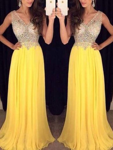 Chiffon Tulle A-line V-neck Floor-length Prom Dresses #JCD020100017
