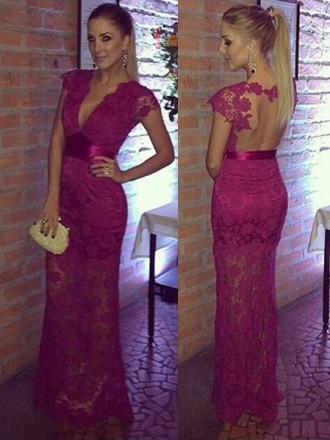 Sexy Cap Straps Sheath/Column V-neck Fuchsia Lace Prom Dresses #JCD020100020