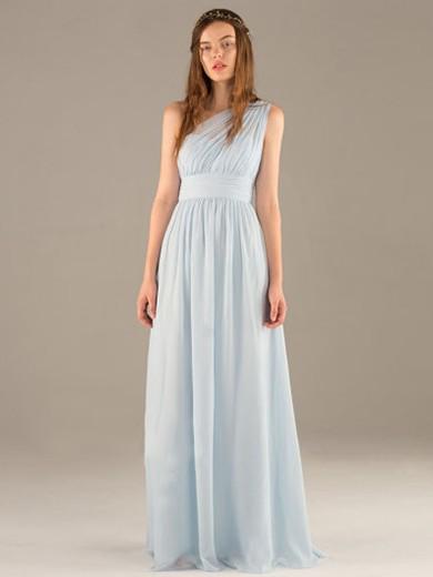 Great Chiffon Ruffle Floor-length One Shoulder Light Sky Blue Prom Dress #JCD020100031