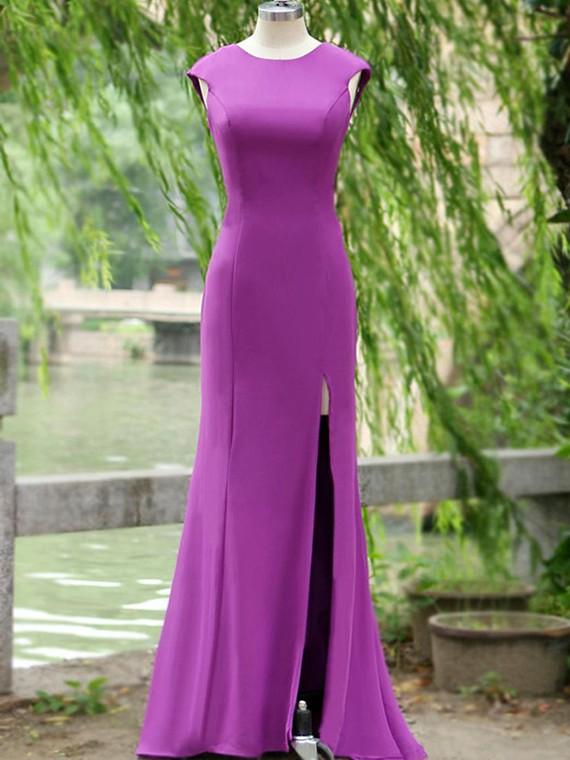 Open Back Split Front Silk-like Satin Latest Trumpet/Mermaid Prom Dresses #JCD020100041