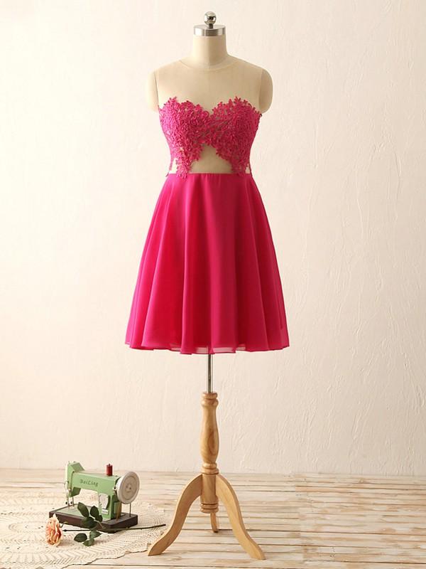 Fuchsia Scoop Neck Chiffon Tulle Short/Mini Appliques Lace Cheap Prom Dresses #JCD020101793