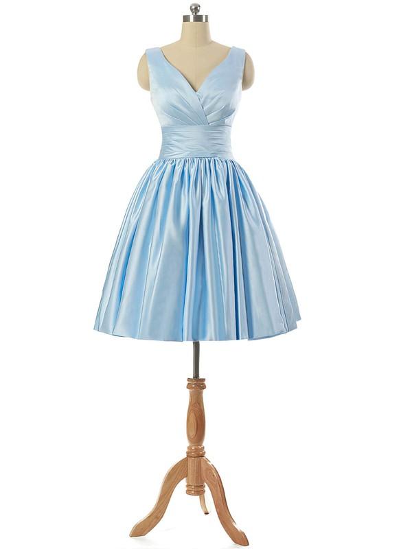 V-neck Light Sky Blue Satin Lace-up Pleats Short/Mini Prom Dresses #JCD020101795