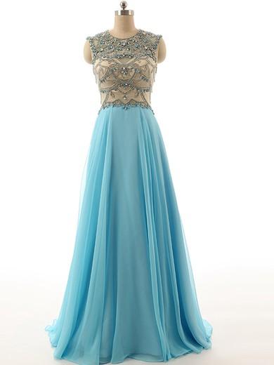 Scoop Neck Chiffon Tulle Floor-length Beading Open Back Blue Prom Dress #JCD020101811