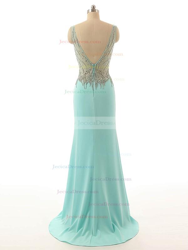 Sheath/Column Chiffon Tulle Split Front V-neck Backless Prom Dress #JCD020101812