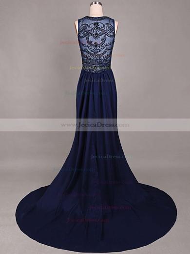 Dark Navy Sheath/Column Chiffon Tulle Court Train Beading Online Prom Dress #JCD020101816