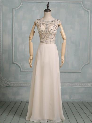 Scoop Neck Chiffon Tulle Floor-length Beading Cap Straps Modest Prom Dresses #JCD020101824