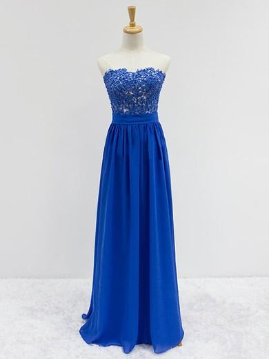 Wholesale Sweetheart Chiffon Appliques Lace Floor-length Royal Blue Prom Dresses #JCD020101833