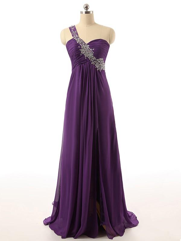 Cheap Purple Chiffon Beading Sweep Train One Shoulder Prom Dresses #JCD020101861
