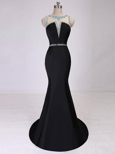 Trumpet/Mermaid Scoop Neck Satin Tulle Beading Modest Black Prom Dress #JCD020101875