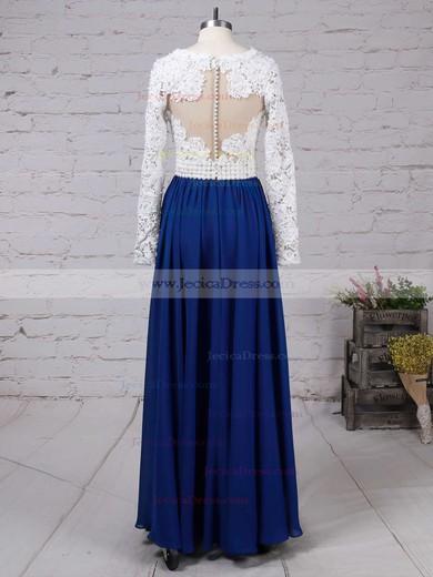 Long Sleeve V-neck Multi Colours Lace Chiffon Pearl Detailing Floor-length Prom Dress #JCD020101388