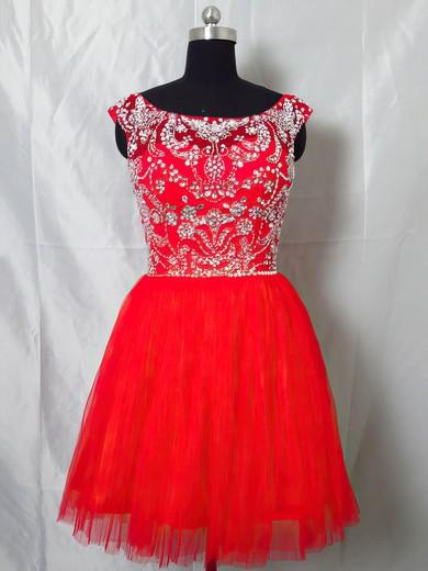 Red Tulle Scoop Neck Beading Cap Straps Short/Mini Prom Dresses #JCD020101404