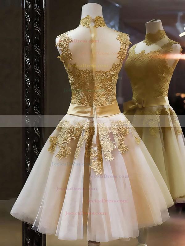 21da0954e9c Popular High Neck Multi Colours Tulle Appliques Lace Knee-length Prom  Dresses  JCD020101414
