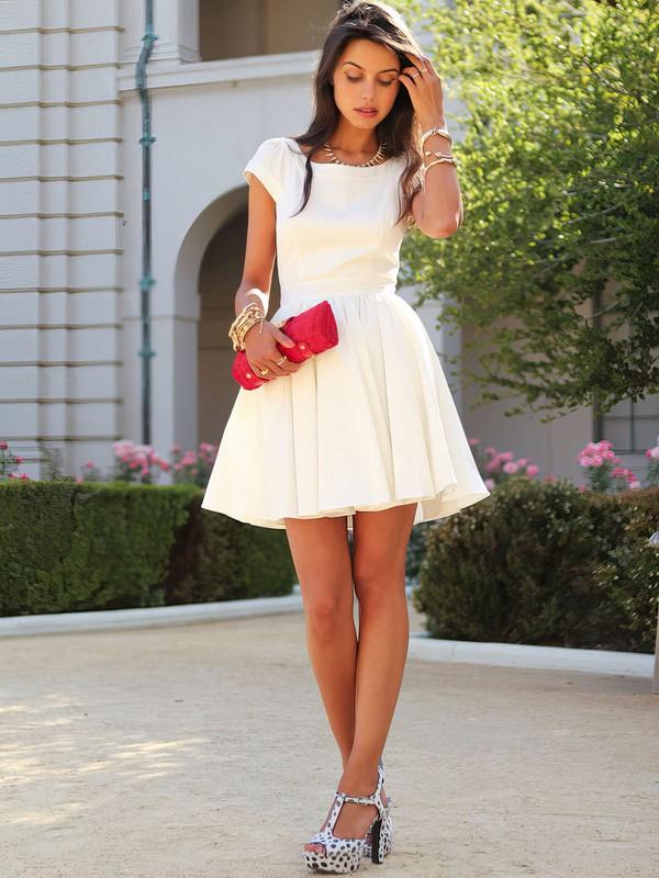 Short Sleeve Scoop Neck White Chiffon Ruffles Short/Mini Prom Dress #JCD020101452