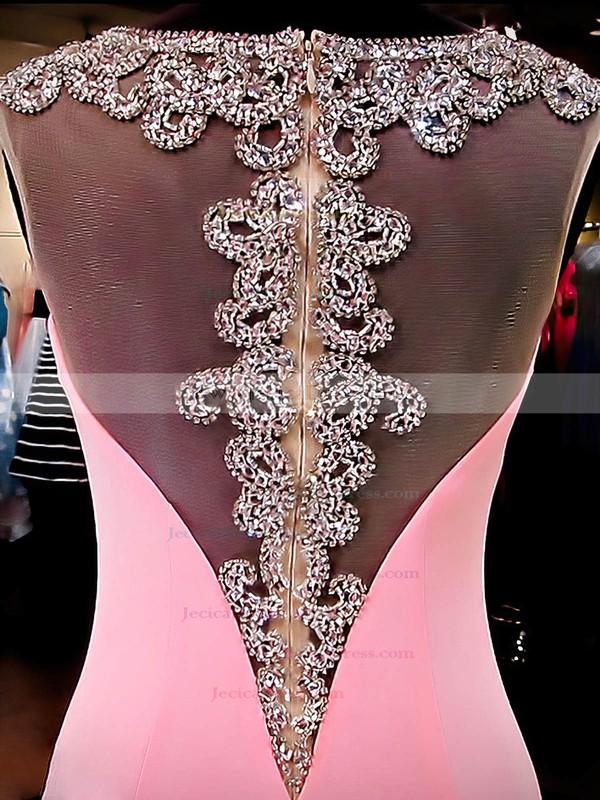 Perfect Trumpet/Mermaid Pink Silk-like Satin Beading Sweep Train Prom Dresses #JCD020101172
