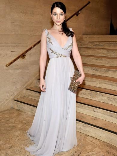 V-neck Lavender Chiffon Appliques Lace Long Cheap Prom Dress #JCD020101225