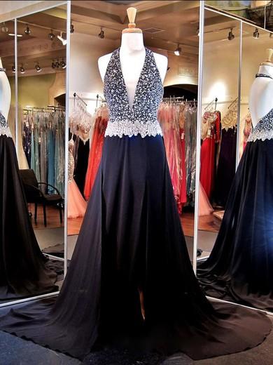 Halter Black Chiffon Beading Court Train Backless Prom Dresses #JCD020101243