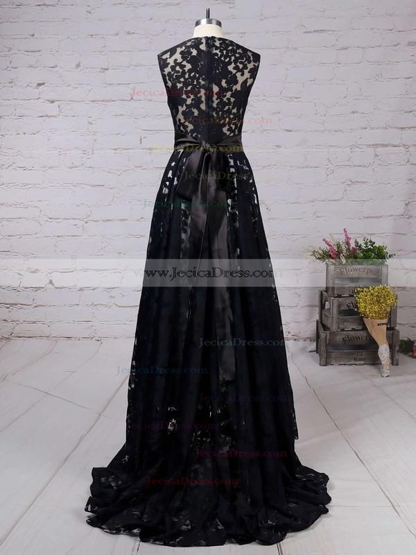 Scoop Neck Sleeveless Black Lace Sashes / Ribbons Asymmetrical Prom Dress #JCD020101207