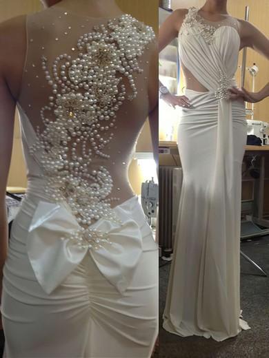 Sheath/Column Scoop Neck Ivory Chiffon Tulle Pearl Detailing Sexy Prom Dress #JCD020101335