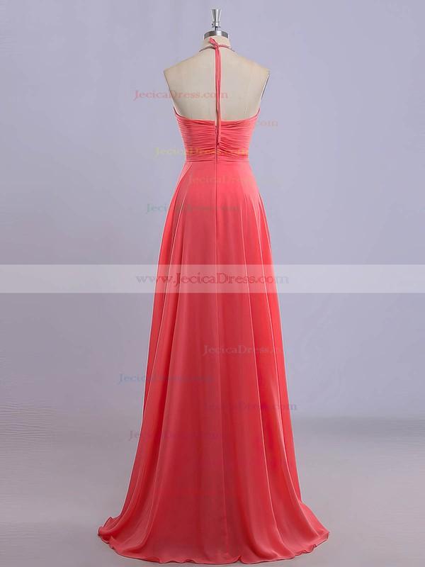 Watermelon Chiffon Floor-length Beading Sexy Halter Prom Dresses #JCD020101616