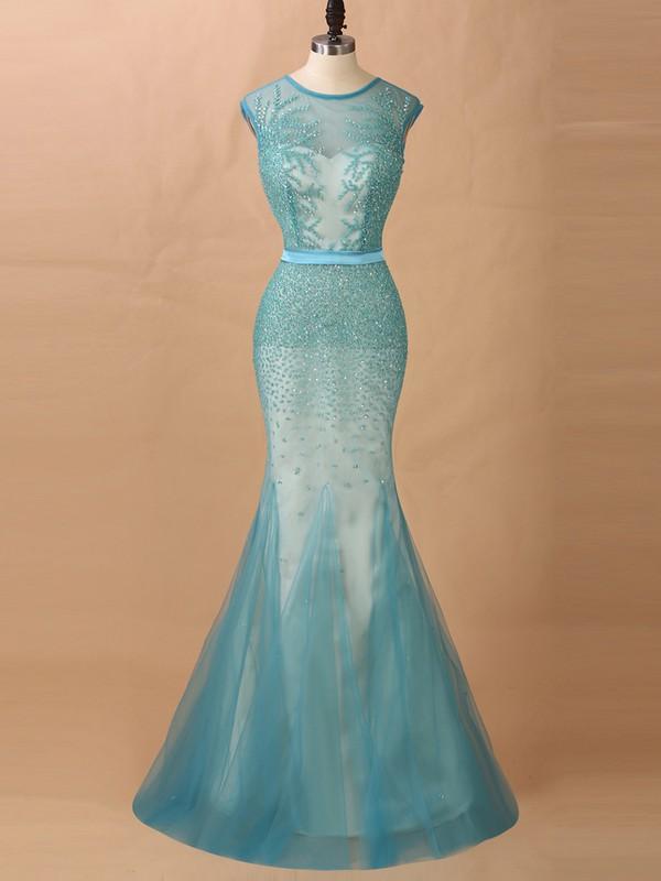 Trumpet/Mermaid Scoop Neck Tulle Beading Unique Prom Dresses #JCD020101618