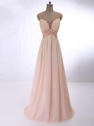 V-neck Pearl Pink Chiffon Floor-length Beading Elegant Prom Dresses #JCD020101619