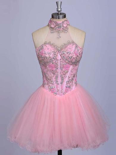 High Neck Pink Satin Tulle Beading Short/Mini Cute Prom Dresses #JCD020101623