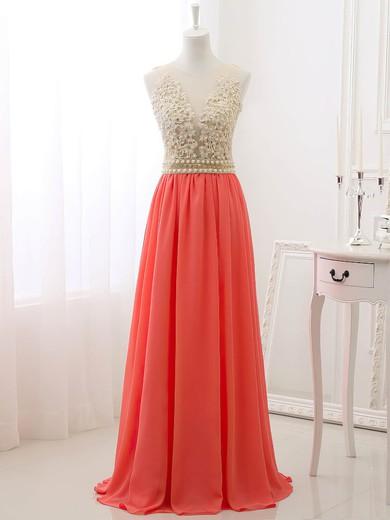 A-line Scoop Neck Tulle Chiffon Appliques Lace Wholesale Prom Dresses #JCD020101627