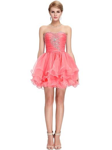 Coolest Sweetheart Watermelon Organza Beading Short/Mini Prom Dresses #JCD020101647