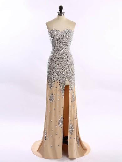 Great Sheath/Column Sweetheart Champagne Chiffon Split Front Prom Dresses #JCD020101656
