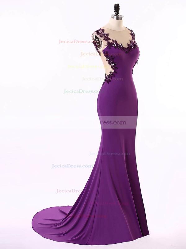 Trumpet/Mermaid Purple Tulle Chiffon Court Train Appliques Lace Best Prom Dresses #JCD020101660