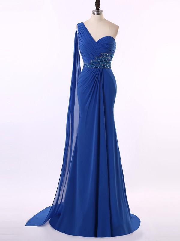 One Shoulder Amazing Royal Blue Chiffon Beading Trumpet/Mermaid Prom Dresses #JCD020101662