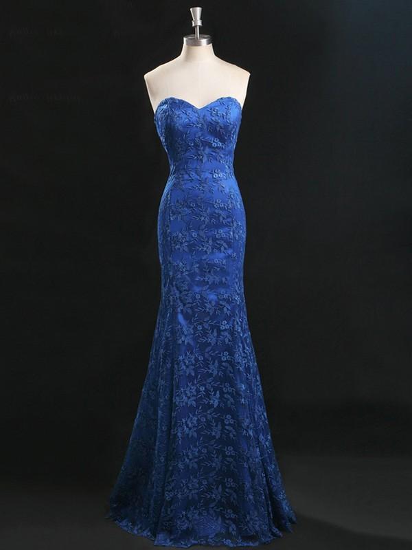 Latest Sweetheart Lace Floor-length Royal Blue Trumpet/Mermaid Prom Dresses #JCD020101664