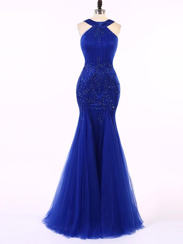 Trumpet/Mermaid Tulle with Beading Floor-length Women Royal Blue Prom Dress #JCD020101674