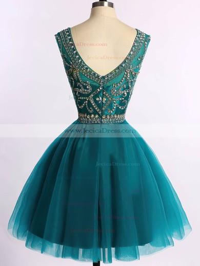 Scoop Neck Sparkly Dark Green Tulle Beading Short/Mini Prom Dress #JCD020101675
