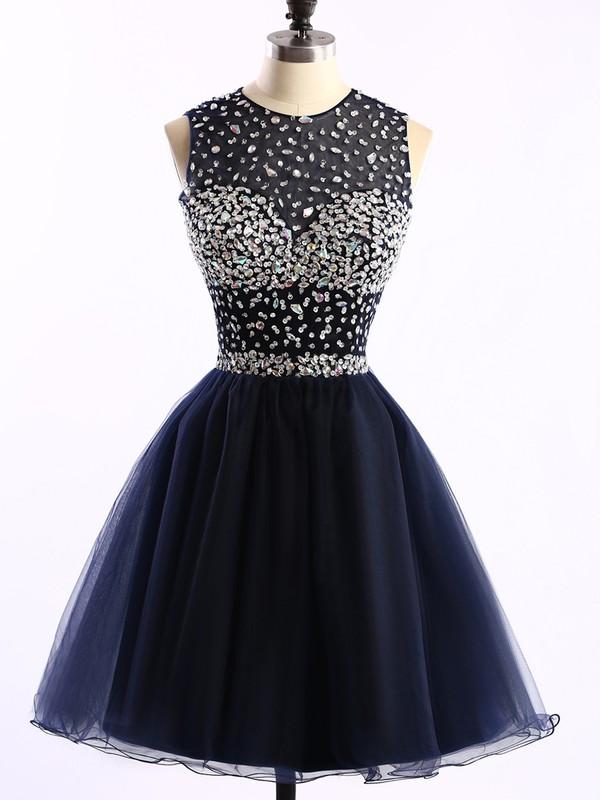 Short/Mini Scoop Neck Dark Navy Tulle Crystal Detailing Open Back Prom Dress #JCD020101677
